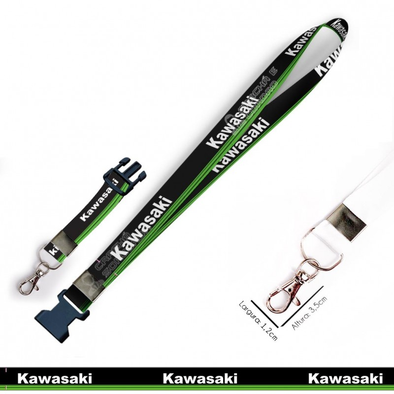 Chaveiro KAWASAKI MOTOS C0635P com Mosquete e Engate Rápido