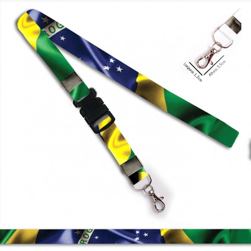 Chaveiro Bandeira Brasil C0688P com Mosquete e Engate Rápido
