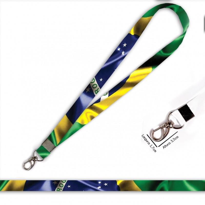 Cordão Bandeira Brasil C0688P com Mosquetão
