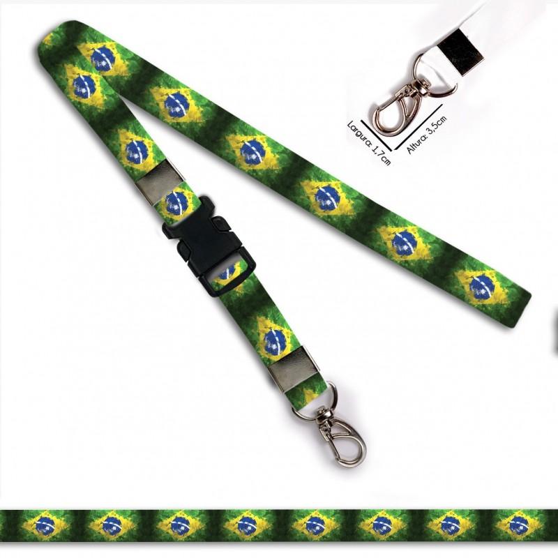 Chaveiro Bandeira Brasil C0689P com Mosquetão e Engate