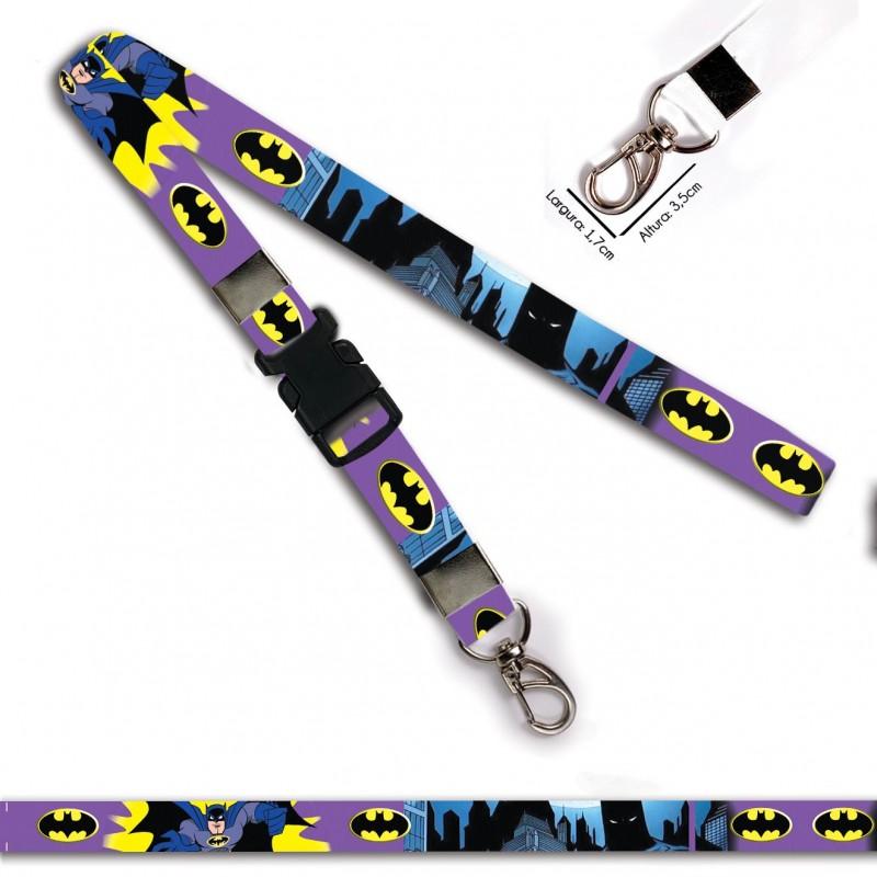 Chaveiro Batman Desenho Roxo C0694P com Mosquetão e Engate