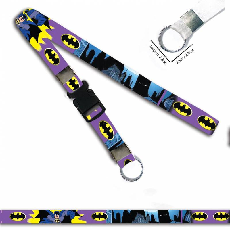 Batman Desenho Roxo C0694P Cordão, Chaveiro Argola Engate