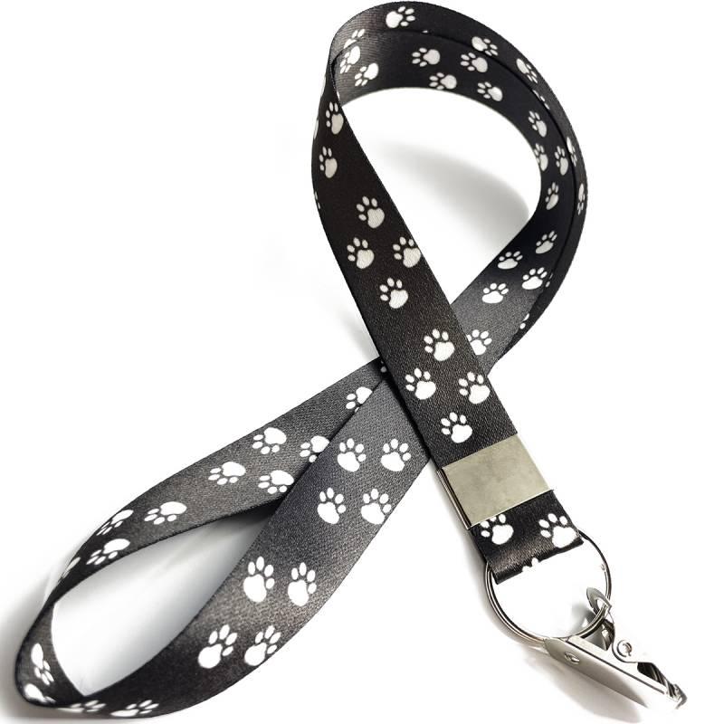 Cordão para Crachá Patinhas Cachorro preto com Jacaré