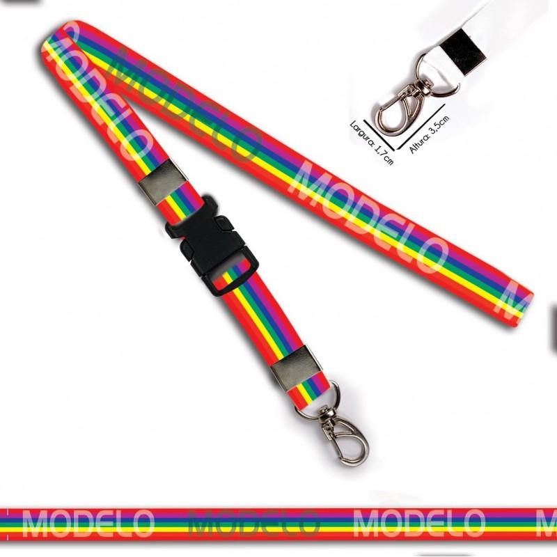 Chaveiro Arco iris C0029P com Mosquetão e Engate Rápido