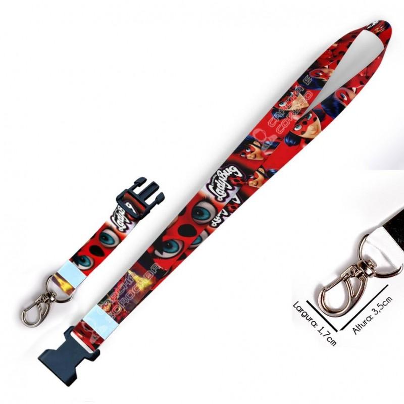 Chaveiro Aventuras de Ladybug C0096P com Mosquetão e Engate
