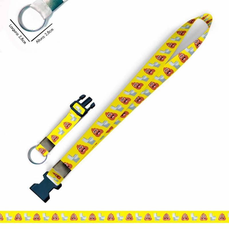Cordão Divertido Cocô Vaso Emoticons C0551P Cordão, Chaveiro Argola Engate
