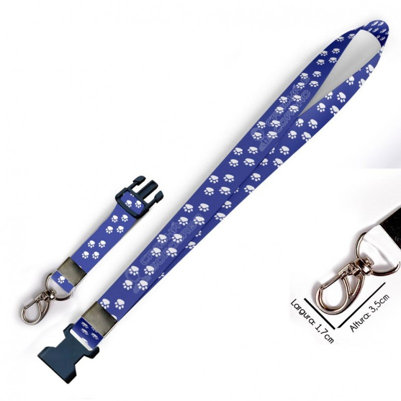 Chaveiro Patinhas Azul C0398P com Mosquetão e Engate Rápido