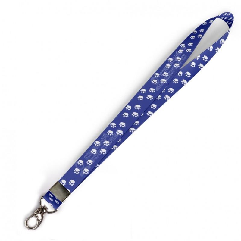 Cordão Patinhas Azul C0398P com Mosquetão