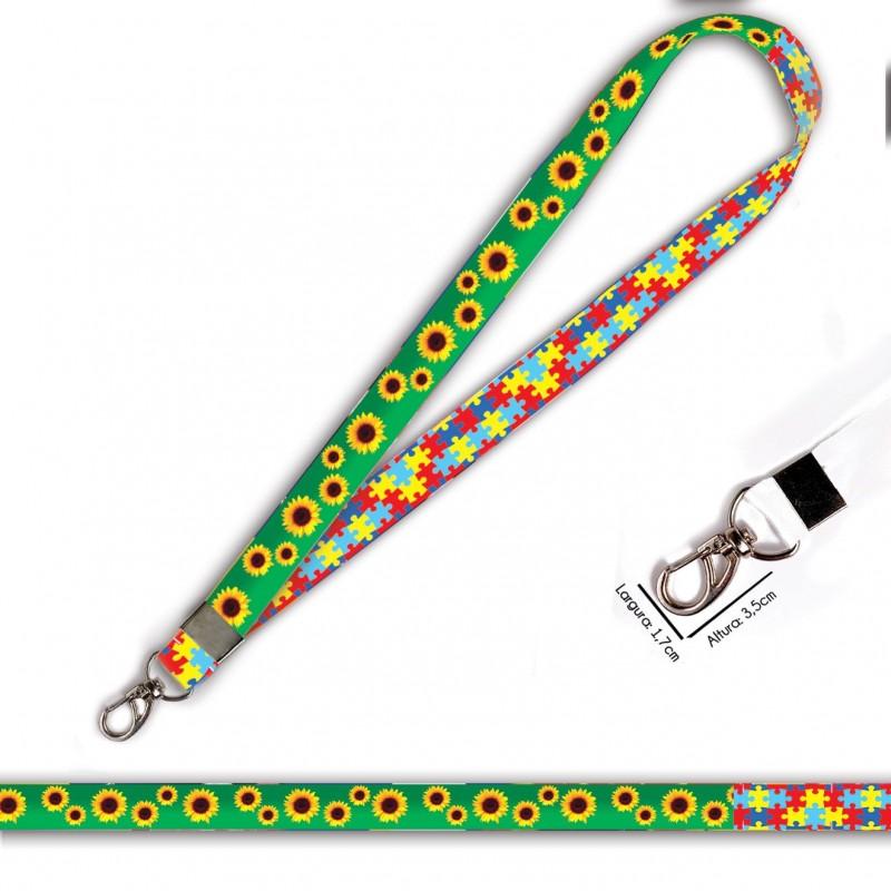 Cordão Girassol e Quebra Cabeças C0469P com Mosquetão